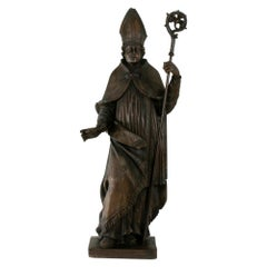 Large 39-inch High 18th Century French Hand Carved Wooden Bishop with Scepter