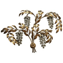 "Large 4 Lights Gilt Metal ""Glycine"" Wall Sconce by Maison Jansen"