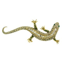 """Large 4"""" Salamander Lizard Crystal Gold Plated Brooch by Maresco 1980s"""