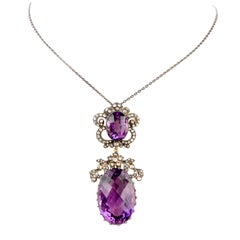 Large 40.38 Carat Amethyst Sterling Silver Gold Dangling Pendant