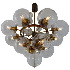 "Large 41"" Hotel Chandelier with Brass Fixture and Hand-Blowed Glass Globes"