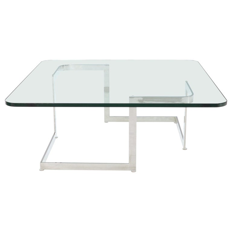 Large Square Thick Glass Top Coffee Table For Sale At 1stdibs