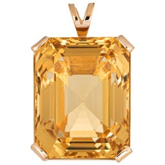 Large 43 Carat Citrine Pendant 14 Karat Yellow Gold Emerald Cut Estate Jewelry
