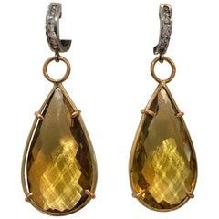 Large 45.25 Carat Citrine Diamond Hanging Earrings 14 Karat