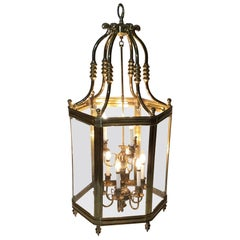 Large Brass Hanging Chandelier Or Lantern
