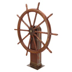 Large Wooden Ships Wheel on Stand