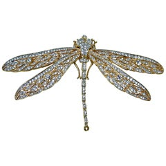 "Large 5 "" Signed Kenneth Jay Lane Crystal Dragonfly Brooch"