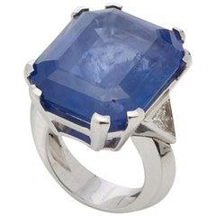 Large 50 Carat Sapphire Diamond Ring
