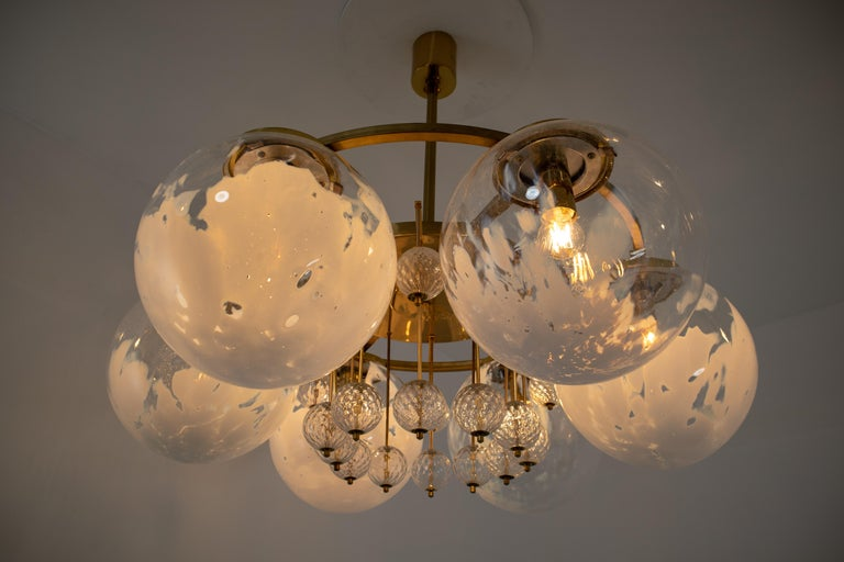 Mid-Century Modern Large Midcentury Hotel Chandelier, in Brass and Decorated Art Glass For Sale
