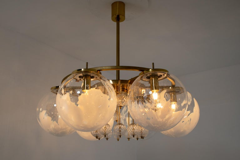 20th Century Large Midcentury Hotel Chandelier, in Brass and Decorated Art Glass For Sale
