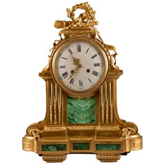 Bronze Mantle Clock with Malachit, Raingo Freres '1775 –1847'