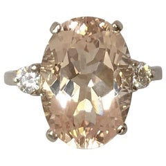 Large 5.87 Carat Fancy Cushion Cut Peach Pink Morganite and Diamond Gold Ring