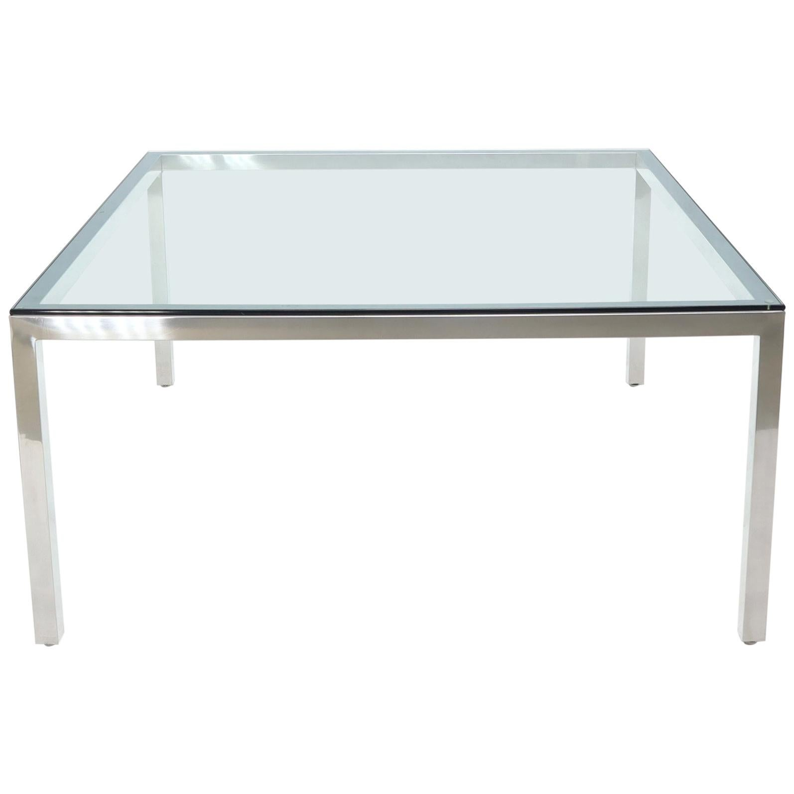 Large Square Glass Top Chrome Frame Dining Conference Table Baughman Attributed