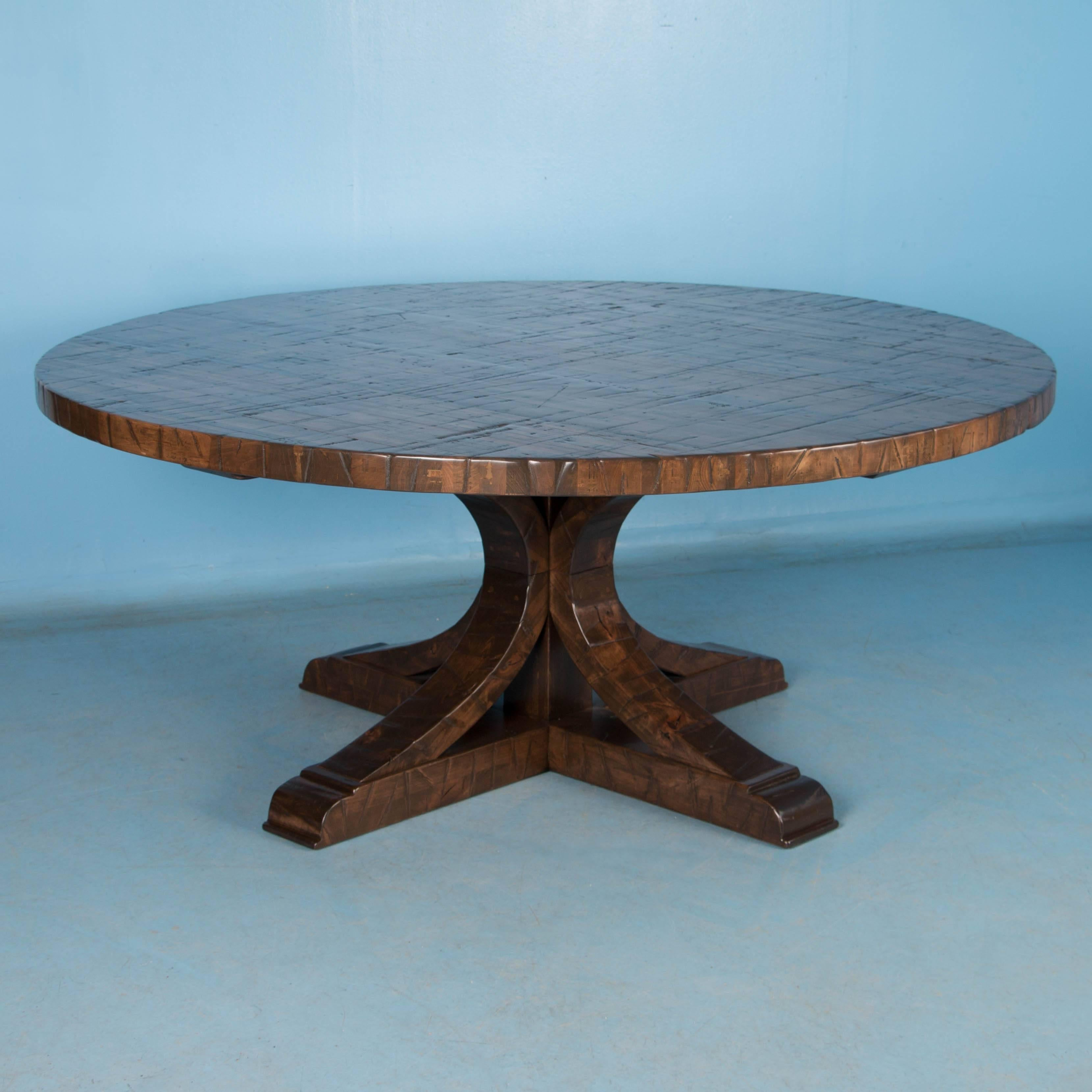 Large Round Dining Table Made from Reclaimed Maple at 1stdibs