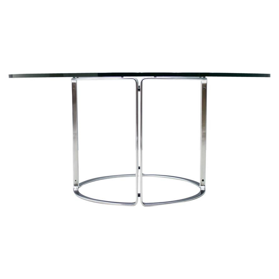 Large Circular Dining Table in Glass and Steel by Horst Bruning for Kill 1970s
