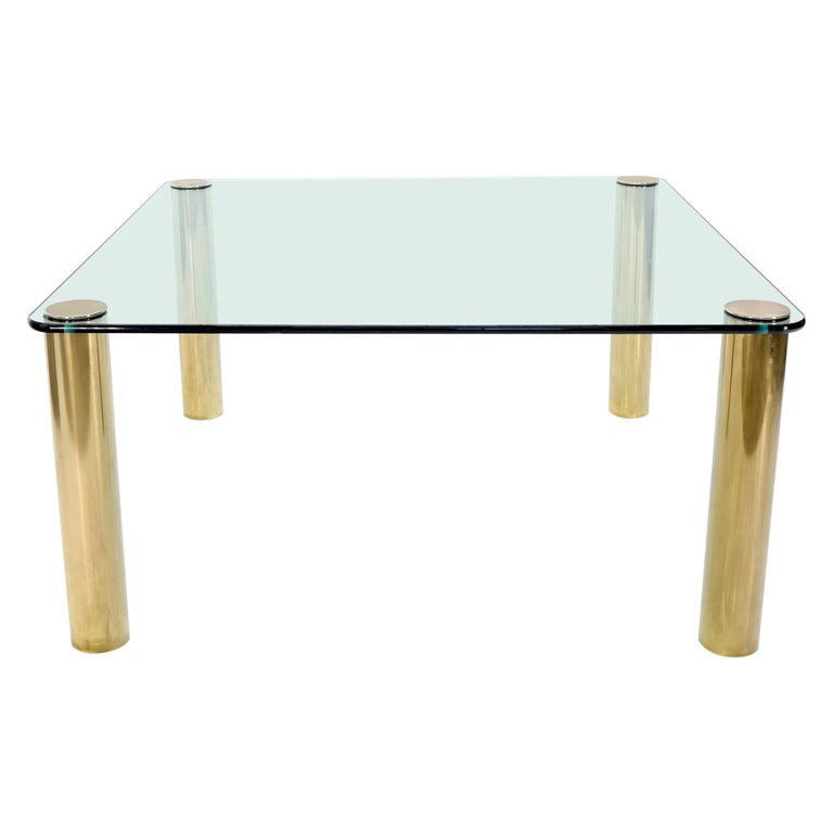 Large Square Thick Gl Top Dining Table On Br Cylinder Legs