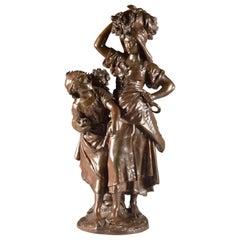 Large Rare French Bronze Sculpture, Mathurin Moreau & E. Collin, 1860