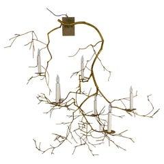 Large 7-Light Gold Leaf Branch Sconce