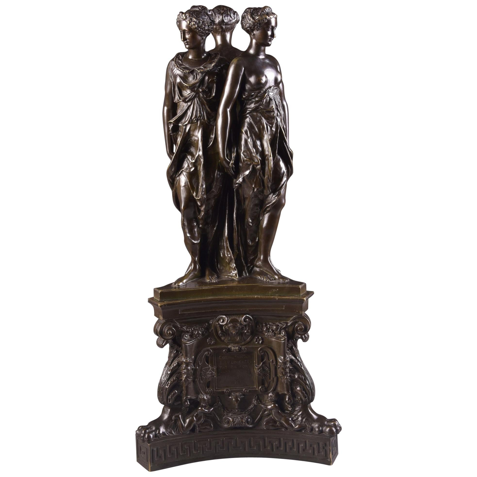 Bronze Group Sculpture, the Three Graces, 19th Century after Pilon