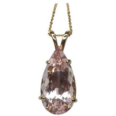 Large 7.48 Carat Peach Pink Morganite Pear Cut 14 Karat Gold Pendant Necklace