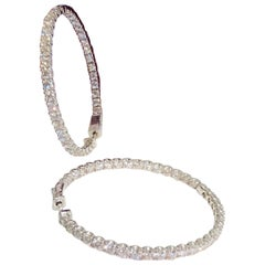 Large 7.8 Carat Diamond Inside Outside Round Hoop Earrings in White Gold