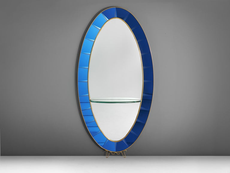 Cristal Arte, mirror, blue glass, Italy, 1950s.
