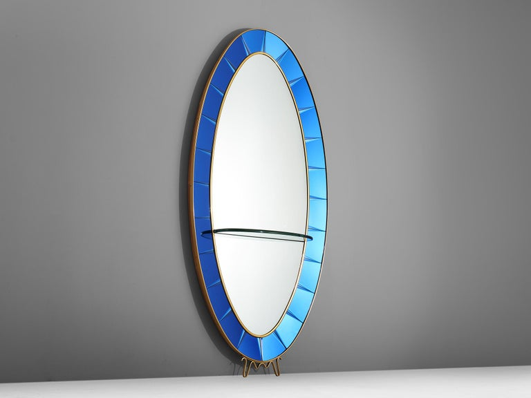 Mid-Century Modern Large High Blue Mirror by Cristal Arte For Sale