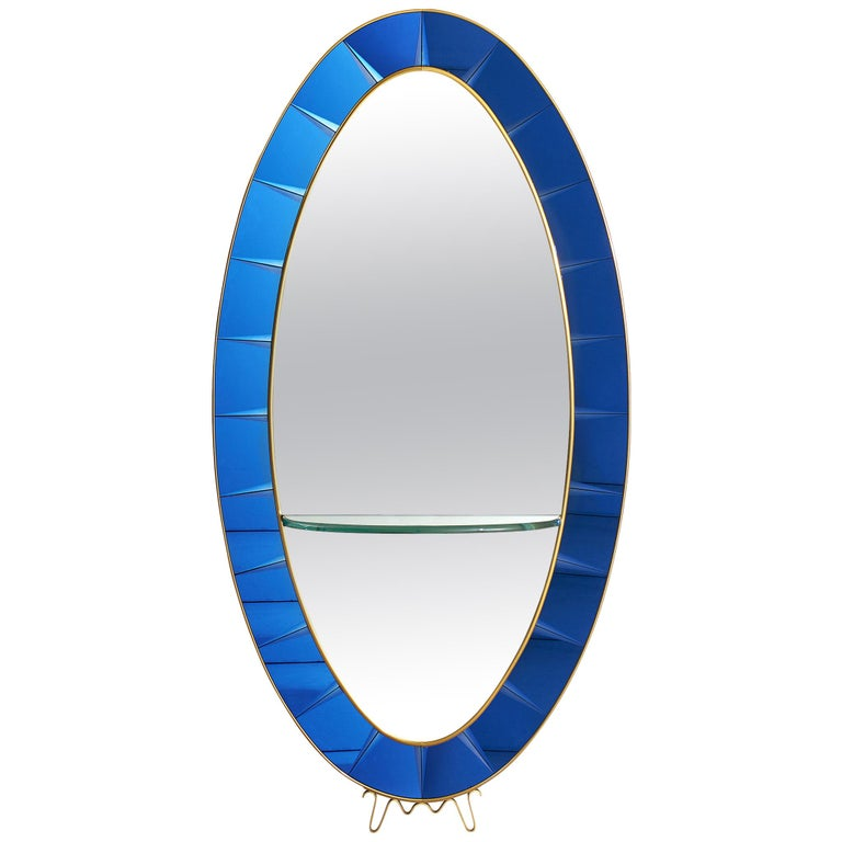 Large High Blue Mirror by Cristal Arte For Sale