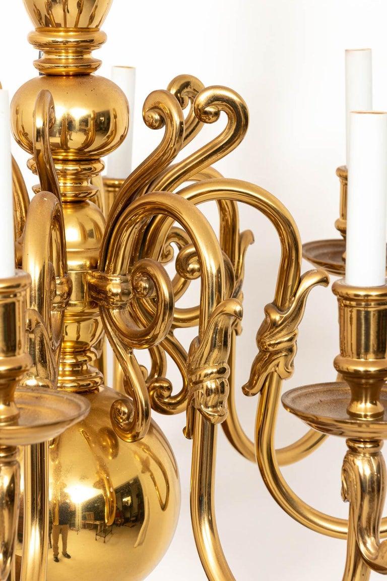 Hollywood Regency Large 8-Arm Brass Chandelier For Sale