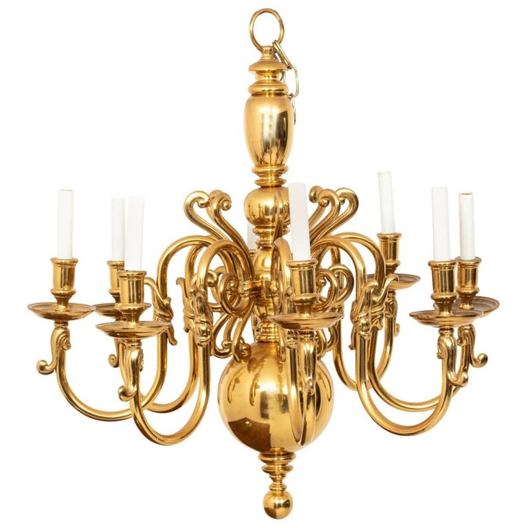 Large 8-Arm Brass Chandelier For Sale