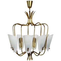 Large 8-Arm Mid-Century Modern Brass Chandelier with Large Plexiglass Shades
