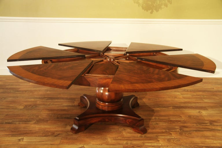 Regency Large Round Mahogany Jupe Dining Table by Leighton Hall For Sale