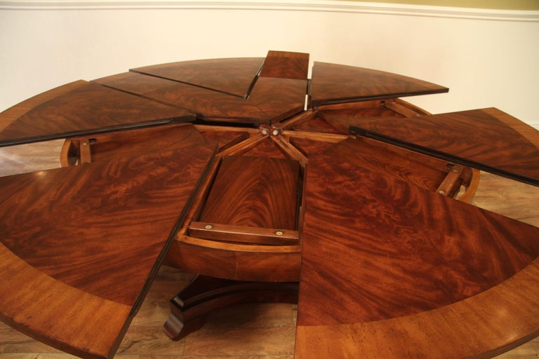 Unknown Large Round Mahogany Jupe Dining Table by Leighton Hall For Sale