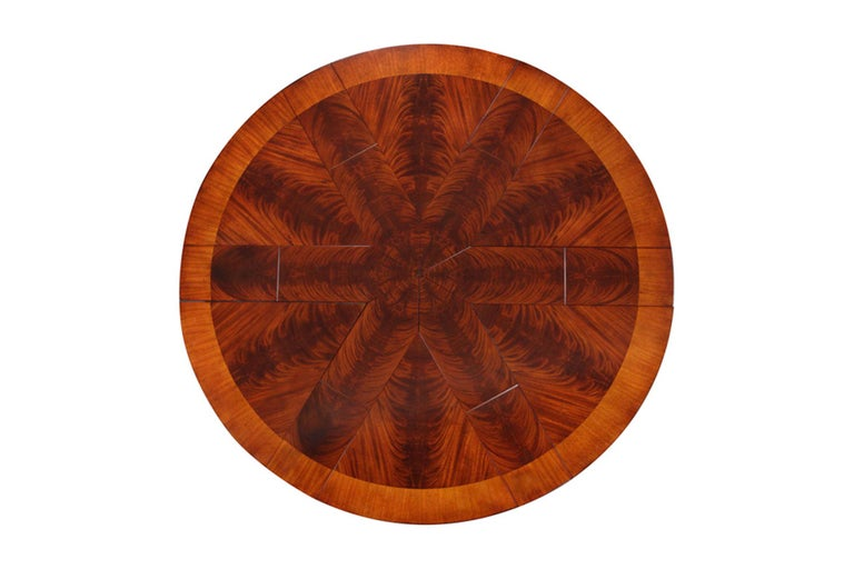 Large Round Mahogany Jupe Dining Table by Leighton Hall For Sale 1