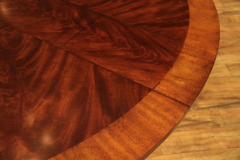 Large Round Mahogany Jupe Dining Table by Leighton Hall For Sale 2