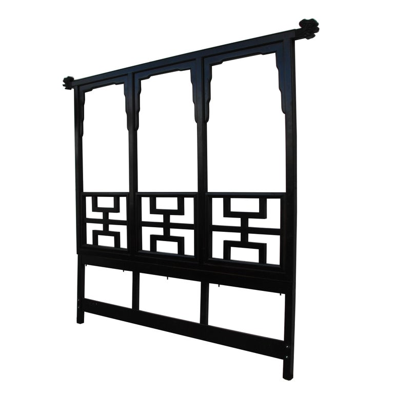 Large black lacquered chin hua headboard by Century Furniture. Measures: 93