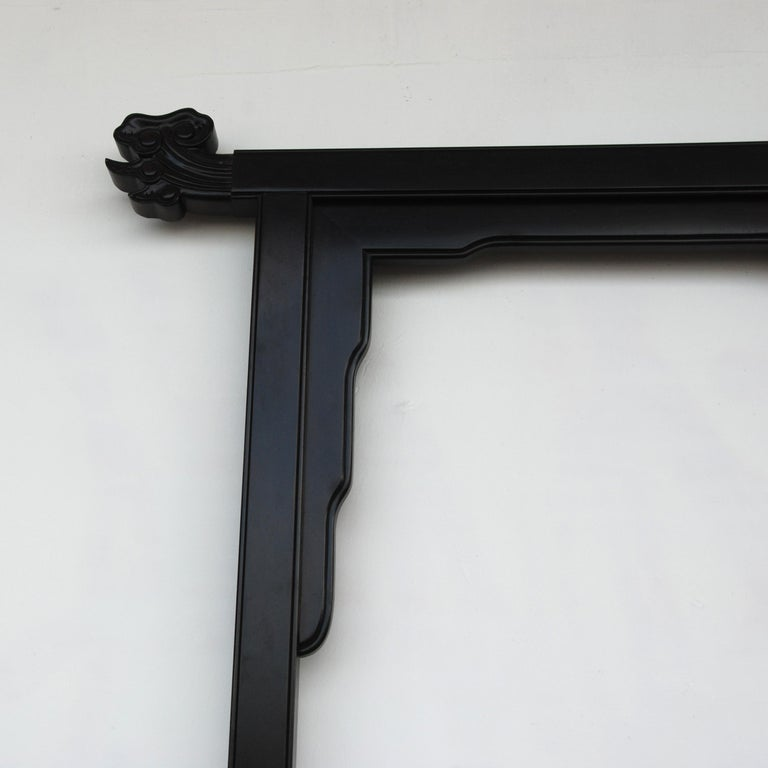 Large Black Lacquered Chin Hua Headboard by Century Furniture In Good Condition For Sale In Pasadena, TX