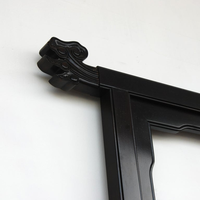 Late 20th Century Large Black Lacquered Chin Hua Headboard by Century Furniture For Sale