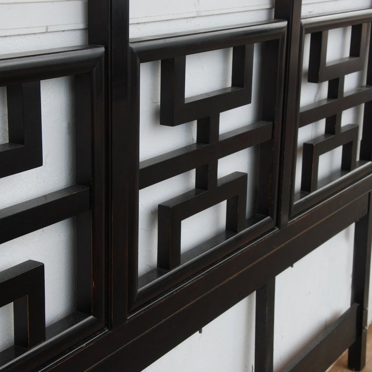 Large Black Lacquered Chin Hua Headboard by Century Furniture For Sale 1