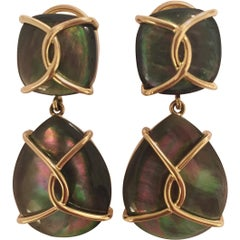 Large Abalone Drop Earrings with Twisted Gold Detail