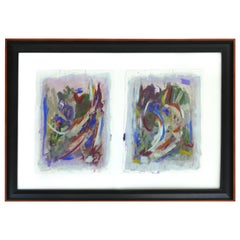 Large Abstract Diptych Signed Acrylic on Paper Dated 2014, Framed Under Glass
