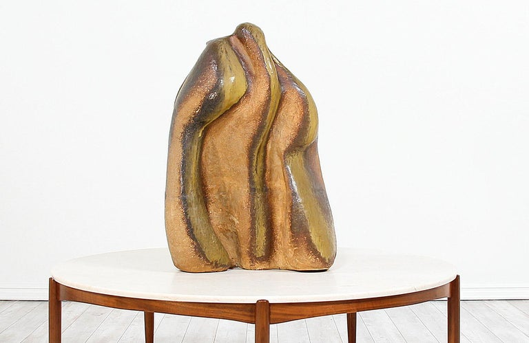 Mid-Century Modern Large Abstract Glazed Ceramic Sculpture For Sale