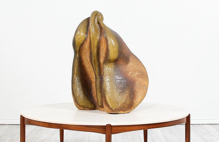American Large Abstract Glazed Ceramic Sculpture For Sale