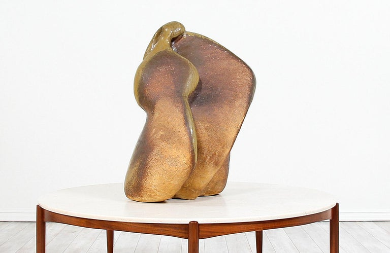 Mid-20th Century Large Abstract Glazed Ceramic Sculpture For Sale