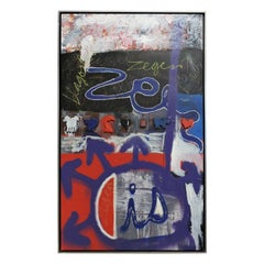 Large Abstract Graffiti Art Mixed-Media Painting