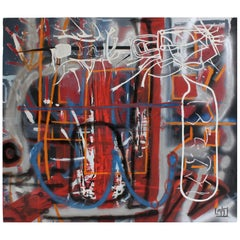 Large Abstract Graffiti Style Painting by Artist Lionel Lamy