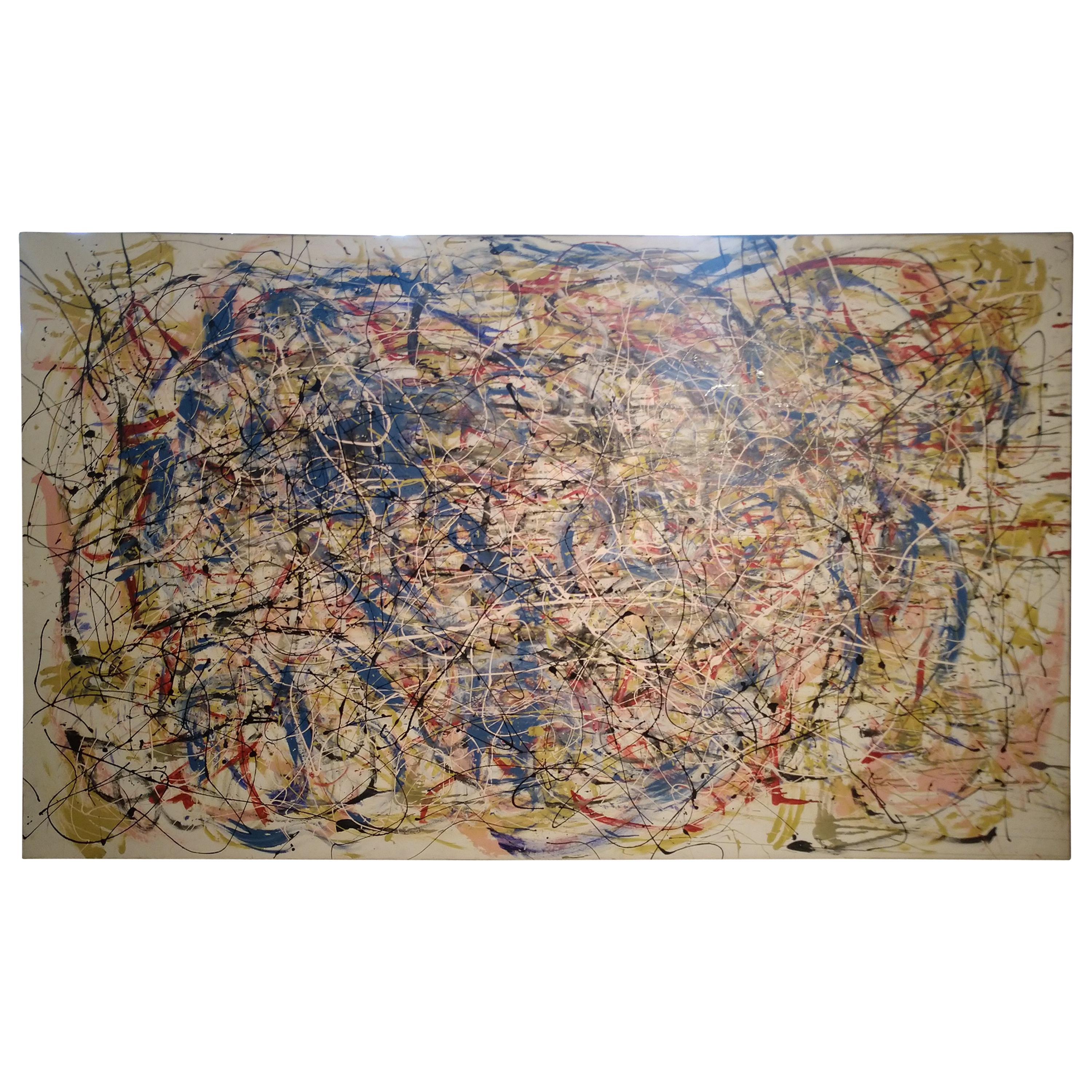 Large Mid Century Abstract in the Style of Jackson Pollack Canvas