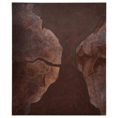 Large Abstract Modern Mixed-Media Painting on Canvas Brown, circa 1970