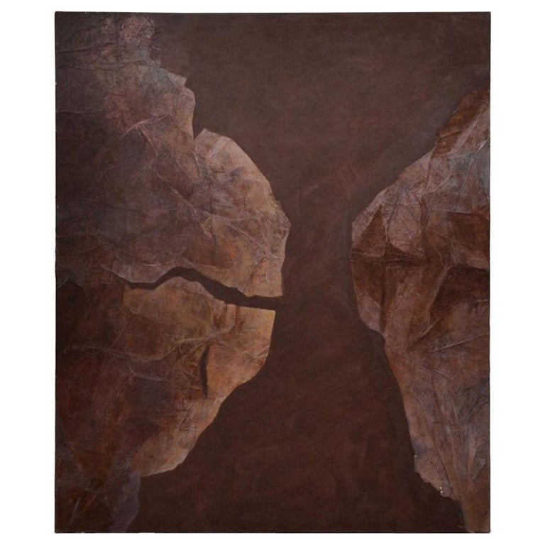 Large Abstract Modern Mixed-Media Painting on Canvas Brown, circa 1970 For Sale
