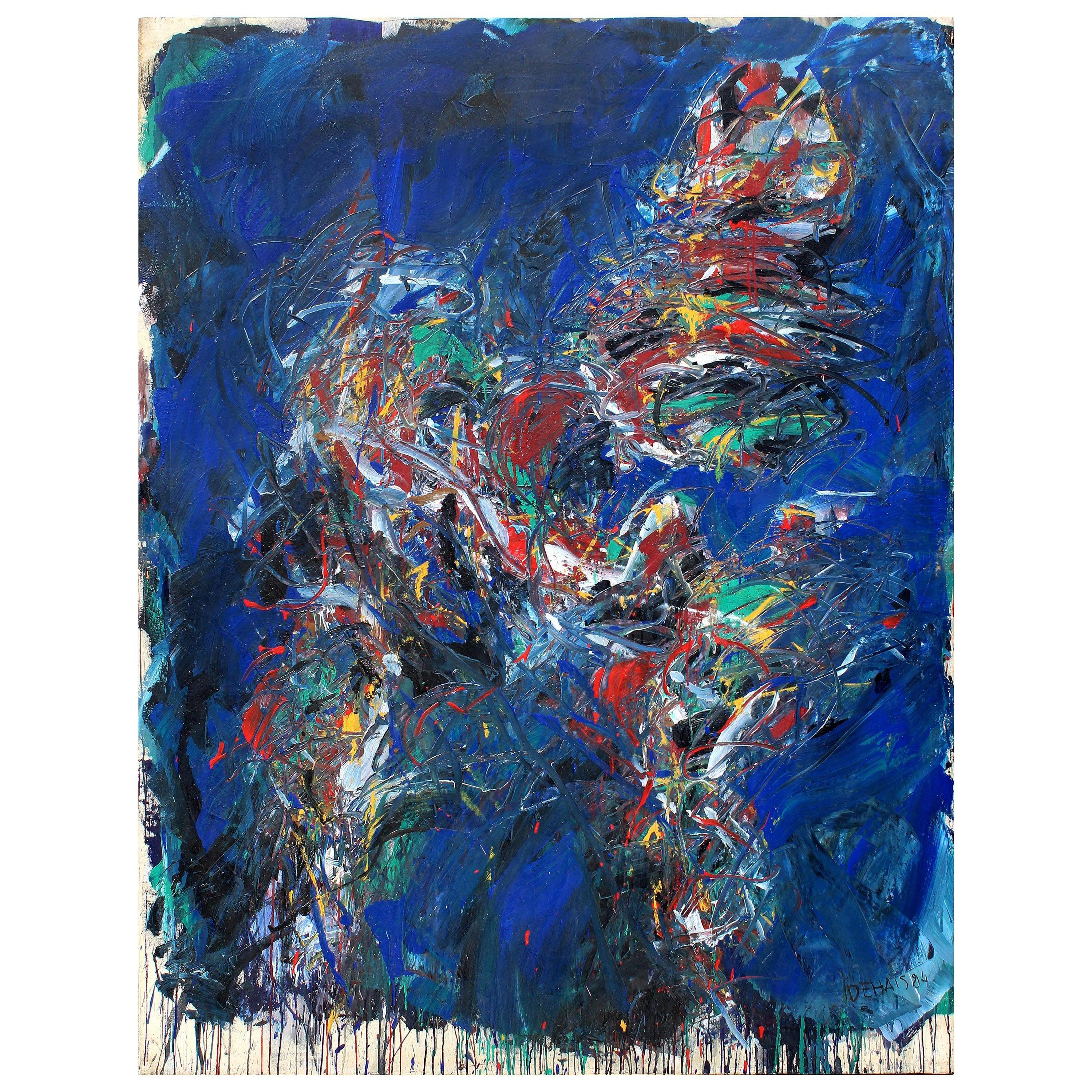 """Monumental Dehais Abstract Oil Painting on Canvas """"Figure"""", 1984"""